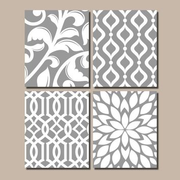 GRAY Bedroom Wall Art, Trellis Pattern Swirl Design Canvas or Prints BATHROOM Decor, Kitchen Pictures, Flower Burst, Home Decor, Set of 4