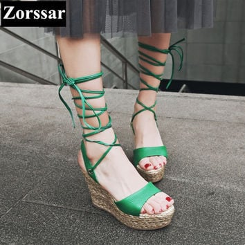 {Zorssar} Brand 2017 NEW high quality Fashion Cross strap Womens platform wedges gladiator sandals peep toe high heels pumps
