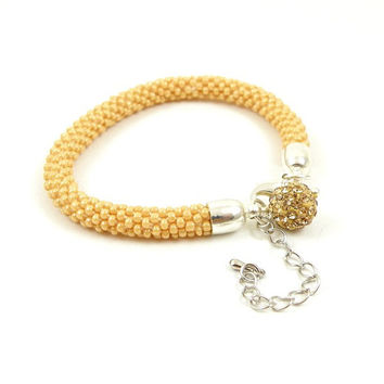 Cream beads crochet rope bracelet , beadwork jewelry , beaded bracelet