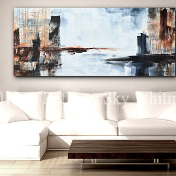 Massive Original Modern Abstract Art 6 foot Gray and Rust Contemporary Painting 30 X 72 Free Shipping