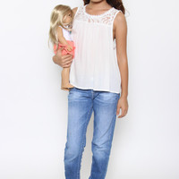 Shabby Chic Lace Top: Cream - Kids