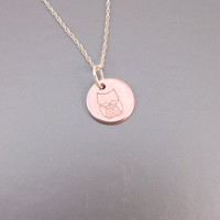 Sterling Necklace With Copper Stamped Owl Pendant