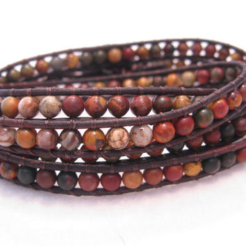 GemStone, Red Creek Jasper Leather Wrap Bracelet, Four Wrap, Brown Destressed Leather, Flower Button