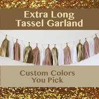 Custom Color 30 Tassel Garland Extra Long Rainbow Colors Tassel Gold Silver Tassel Wedding Tassel Shower Garland