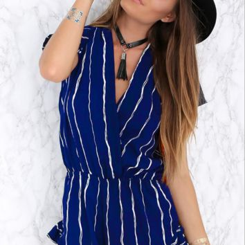 Deep v-neck stripe printed leisure elastic jumpsuits with short sleeves