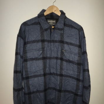 New Year Sale QUICKSILVER Wool Jacket Long Coat Salt Water Denim Vintage Surf Beach