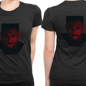 MDIG1GW Bryson Tiller In Red Photo 2 Sided Womens T Shirt