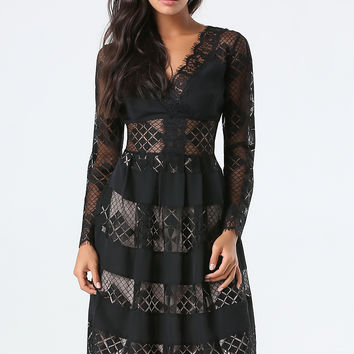 bebe Womens Petite Geo Lace Midi Dress Black