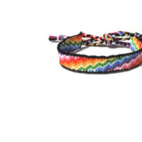 Friendship Bracelet - Zig Zag Rainbow with Black Border - Handmade