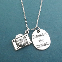 Remember the moments, Camera, Silver, Necklace, Remember, Memory, Birthday, Friendship, Lovers, Anniversary, Gift, Jewelry