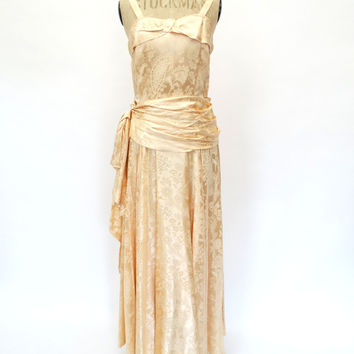 VINTAGE 1940s DAMASK COCKTAIL DRESS 8