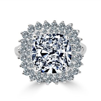 7 CT. (11x11mm) Square Cushion Radiant Center w/double Halo Pave Simulated Diamond - Diamond Veneer Set Sterling Silver w/Rhodium Electro-Plate Ring 635R0250