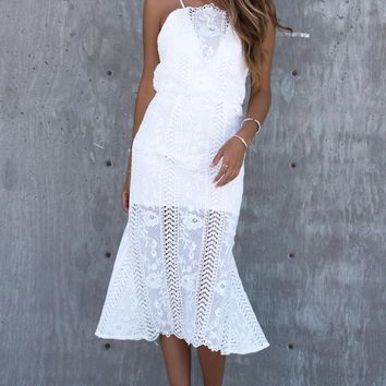 Azalea Crochet Midi Dress