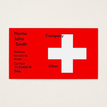 Business Card with Flag of Switzerland