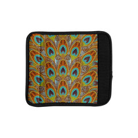 """Art Love Passion """"Peacock Pattern"""" Brown Teal Luggage Handle Wrap"""