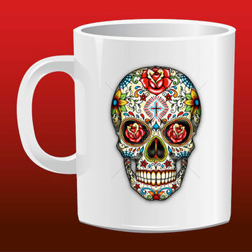 Sugar Skull Roses for Mug Design
