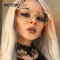 Newest Oversized Sunglasses Women Fashion Cat Eye VictoryLip Arrival 2017  Sunglass Vintage Brand Designer Rose Gold Sun Glasses