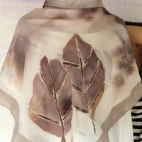 S262 Large Square Hand Painted Silk Scarf - Monochromatic Leaf
