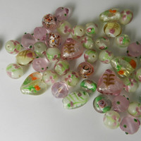 Loose Destash Glass Bead Assortment  Pink White Green Glass Beads Heart Foiled Beads Mixed Style Glass