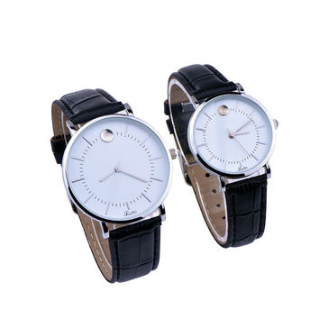 Fashion Women Men Business Leather Strap Watch Classic Lover Watches + Gift Box
