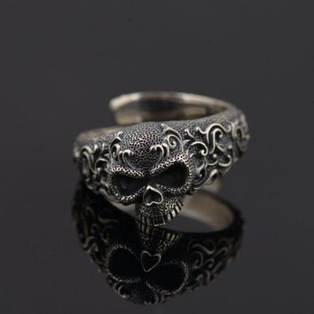 Gothic Punk Skull Rings For Men And Women 925 Sterling Silver Jewelry Resizable Vintage Flower Engraved Skeleton Finger Band