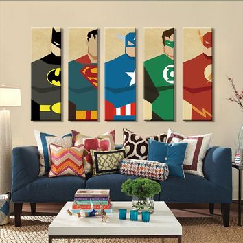 5 Pieces Superhero Modern Home Wall Decor Canvas Art Unframed