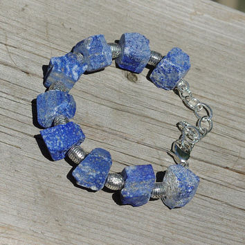 Raw Lapis Lazuli Stone Bracelet ~ Natural Shaped Stones ~ Semi Precious Stones ~ Bohemian Style ~ Boho Blue Denim Colour ~ One of a Kind