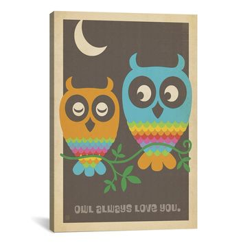 iCanvasART ADG169 Owl Always Love You by Anderson Design Group Canvas Print, 12 by 8-Inch, 0.75-Inch Deep