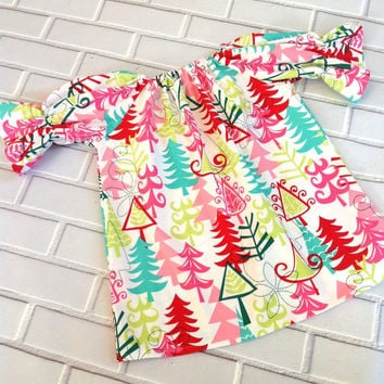 Girls Christmas Dress Toddler Holiday Dress Baby Winter Clothes Red Green Aqua Boutique Clothing By Lucky Lizzy's