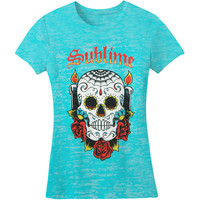 Sublime  Skull Burnout Girls Jr Tissue Tee Tahiti Rockabilia
