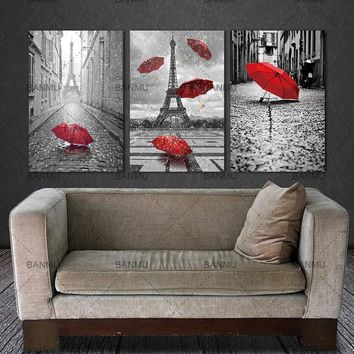BANMU canvas Painting decor for home wall Art Black and White Eiffel Tower with Red umbrella on Paris Street Romantic Picture
