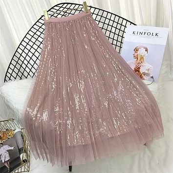 Spring Summer Skirts Women Korea Long Tulle Skirt Sequined Pleated A Line Midi Skirt Chic High Waist Skirt Female