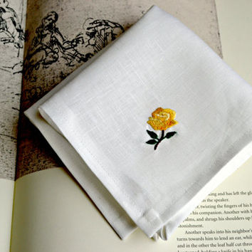 Yellow Roses Linen Hankerchief, Tiny Rose Handkerchief, Womens Hankie, Floral Handkerchief, Hand Embroidered Rose Handkerchief, Roses Hanky