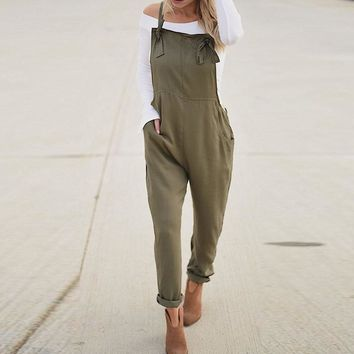Summer ZANZEA Women Casual Spaghetti Straps Pockets Long Playsuit Solid Slim Jumpsuit Overalls Bodysuit Work Turnip Pants