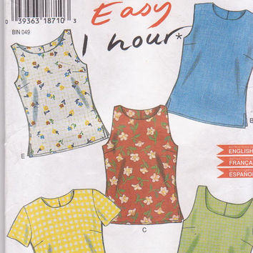 Pattern for easy 1 hour pullover, semi-fitted summer tops sleeveless or short sleeved size 6 8 10 12 14 16 New Look 6483 UNCUT