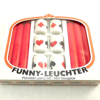 Ceramic Bridge Candle Holders, Vintage Card Game Candle Set Pack, Funny Leuchter Hearts, Clubs, Diamonds, Spades