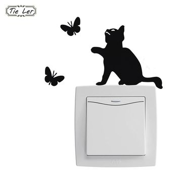 10PCS Cute Cat Switch Stickers Wall Stickers Home Decoration Room Window Wall Decorating Vinyl Decal Sticker Decor Cartoon