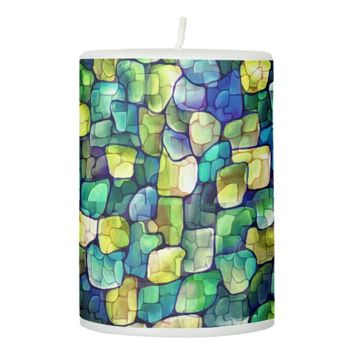 Contemporary Green Pattern Pillar Candle