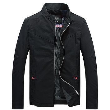 Casual Cotton Stand Collar Slim Fit Men Jackets