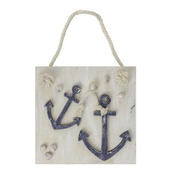 """7"""" Cape Cod Inspired Double Anchor Wall Hanging Plaque with Seashells"""