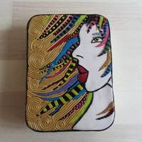 Poker or Playing Card Tin, Woman with Colorful Dreadlocks Hair, Polymer Filigree and Mosaic Tin, Art Gift Box, Unique Christmas Gift Box