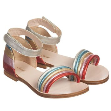 Chloe Girls Metallic Leather Sandals