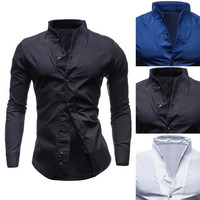 Stand Collar Designer Men's Shirt