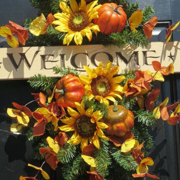 Fall Door Swag Wreath, Welcome Wreath, Fall Front Door Wreaths, Autumn Wreaths, Fall Door Wreaths, Thanksgiving Wreaths, Sunflower Wreaths