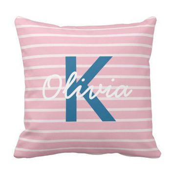Pink & Blue Striped Monogrammed Throw Pillow