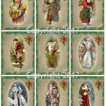 Victorian Images Vintage Santa Christmas Graphics Collage Sheet, Digital Scrapbooking, Prints, ATC, Gift Tags
