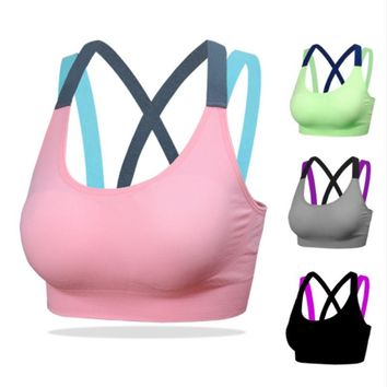 Women Sport Yoga Bra Workout Tank Tops Stretch Seamless Racerback Fitness Padded