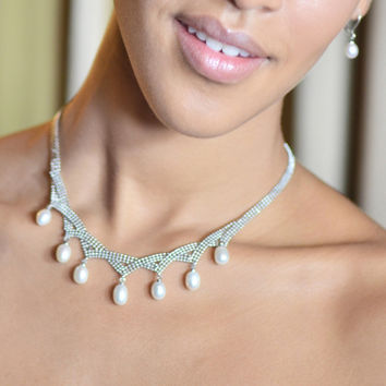 Grace Pearl and Silver Mesh Princess Necklace