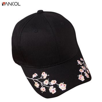 Vancol Floral Women Baseball Cap Summer Cotton Sun Hat For Women Fitted Cap Female Embroidery Flower Casquette Bone Gorras