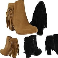Women Booties Fashion Almond Toe High Chunky Heel Tassel Fringe Boots Side Zip